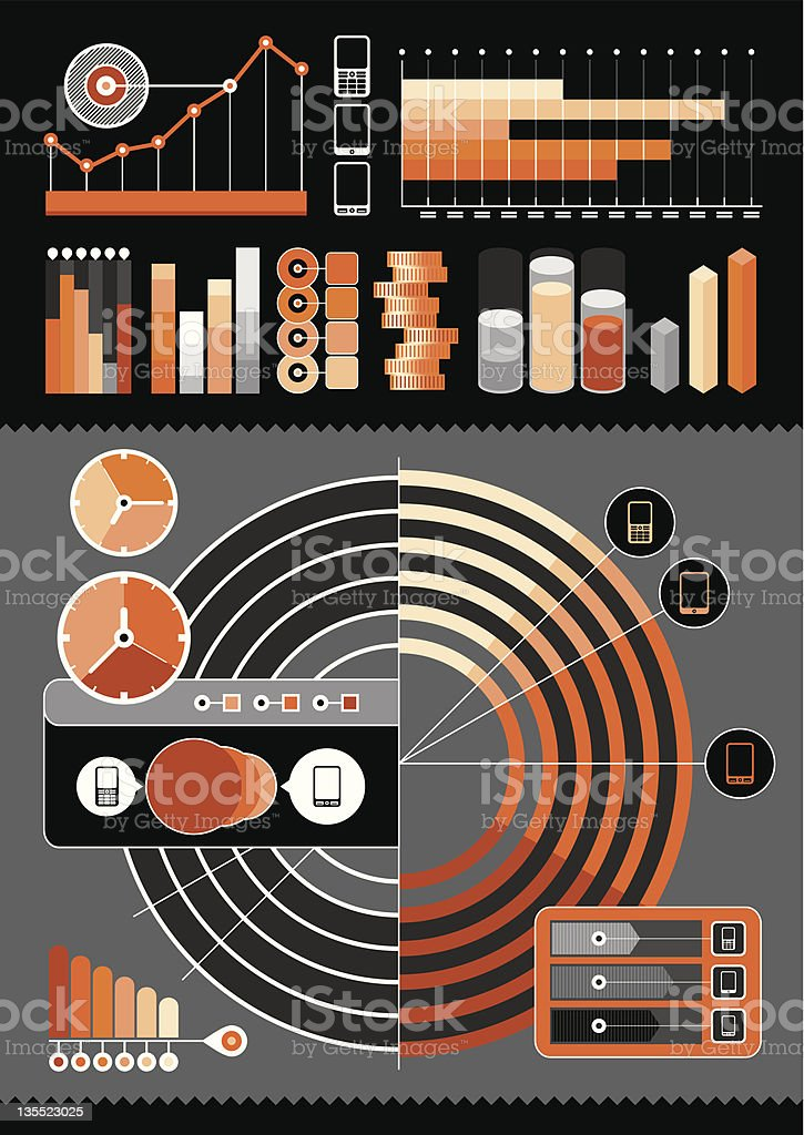 elements of the infographics on a gray background royalty-free stock vector art