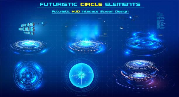 elementy sci-fi nowoczesny okrąg dla ruchu graficznego. futurystyczna technologia kształtuje elementy hud. zestaw abstrakcyjny. okrągły element projektu. zestaw elementów do wideo lub ilustracji przyszłości. - futurystyczny stock illustrations