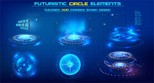 elements sci-fi modern circle for graphic motion. futuristic technology circle shapes hud elements. abstract set. circular design element. set of elements for video or illustrations of the future. - białoruś stock illustrations
