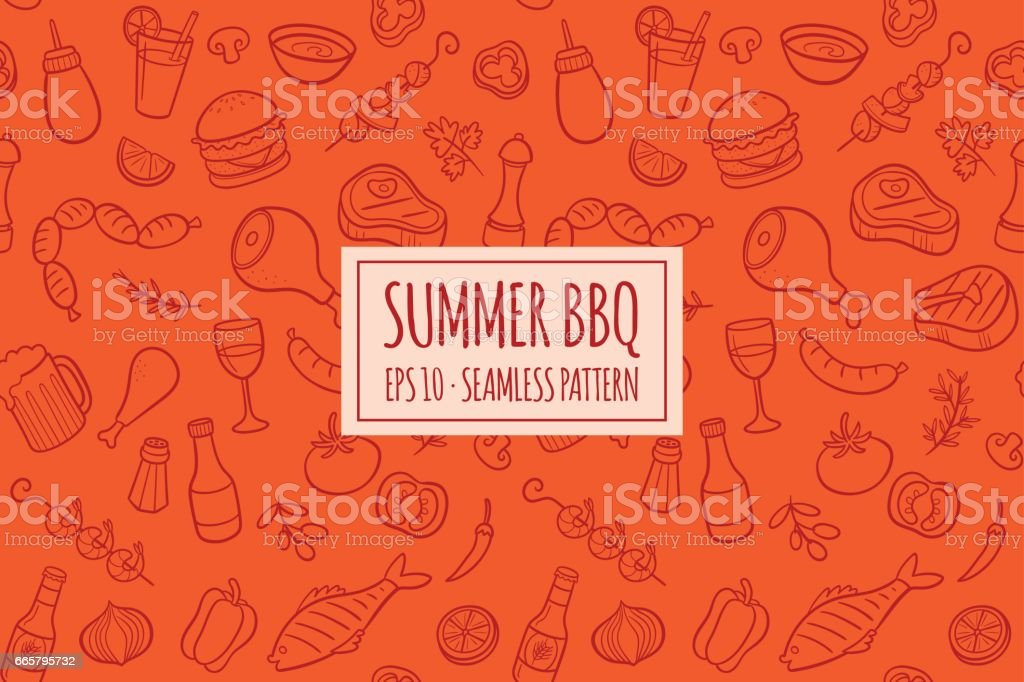 BBQ elements seamless pattern. Vector illustration