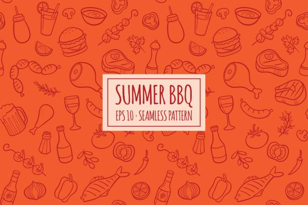 BBQ elements seamless pattern. Vector illustration Seamless pattern with hand drawn doodle BBQ icons set. Vector illustration with summer barbecue elements collection. Cartoon meals, fish, drinks and ingredients on red background. cooking designs stock illustrations