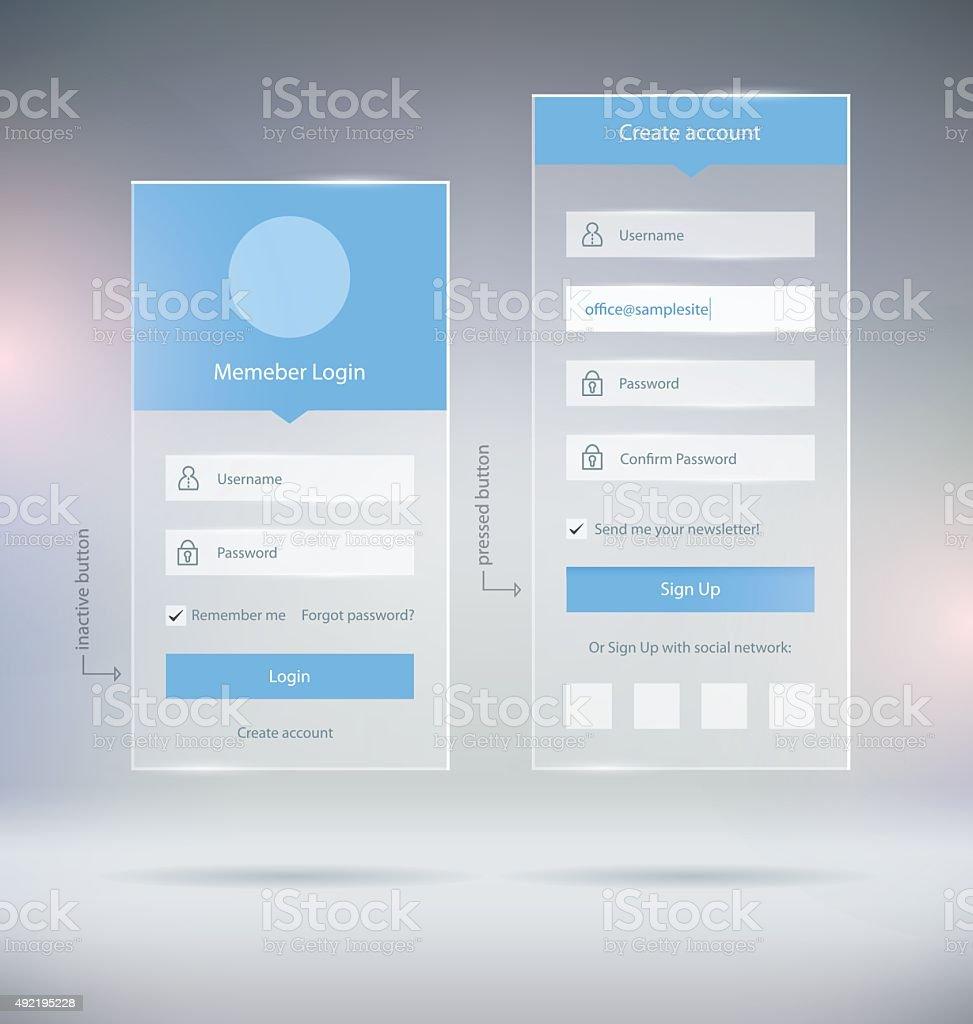 UI Elements vector art illustration