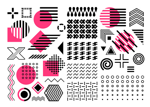 elements vector set, pink, purple, black geometric shape collection, abstract shapes