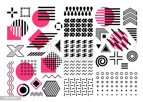 elements vector set, pink, purple, black geometric shape collection, abstract shapes, circles, zigzags, lines, waves, isolated on white background, design elements, seamless patterns