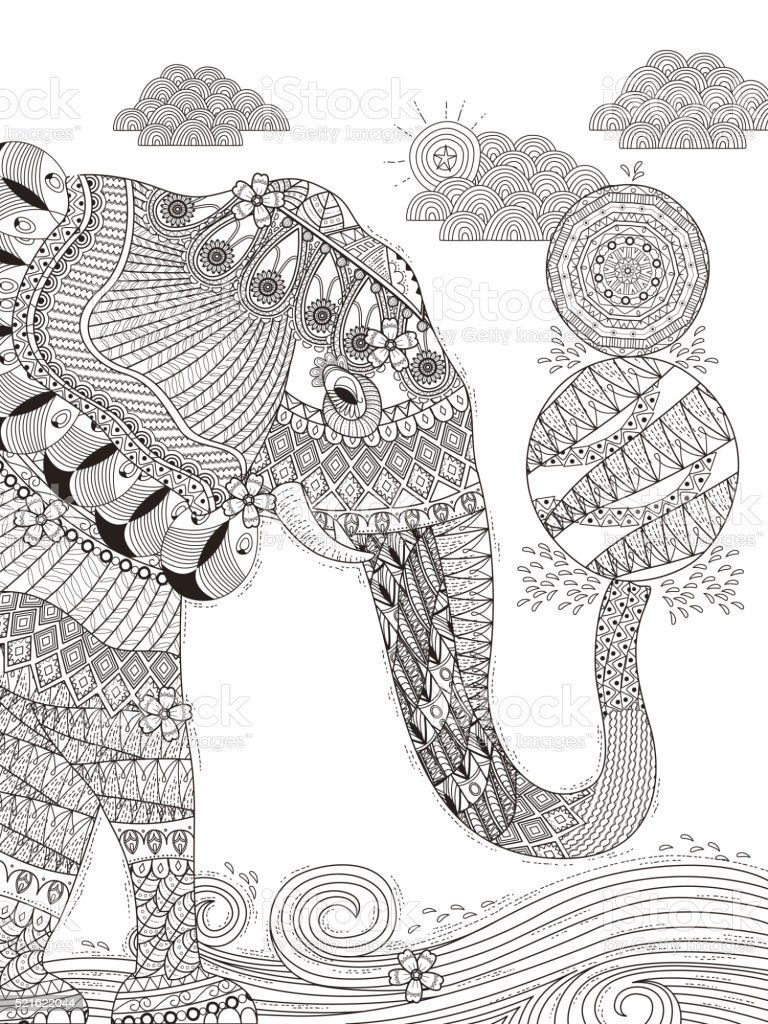 Elephant Adult Coloring Page Royalty Free Stock Vector Art