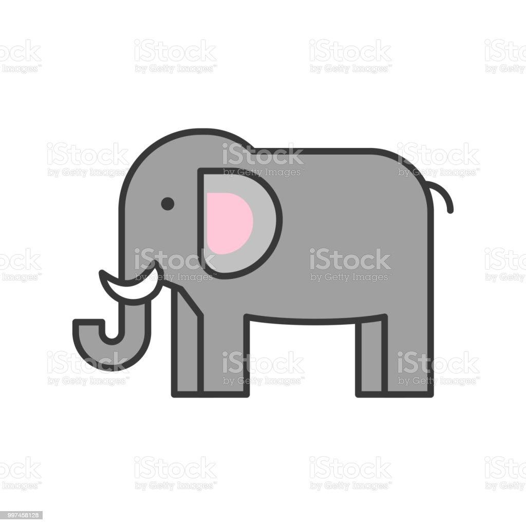 Ilustración de Elefante Animal Africano En Conjunto De Iconos De ...