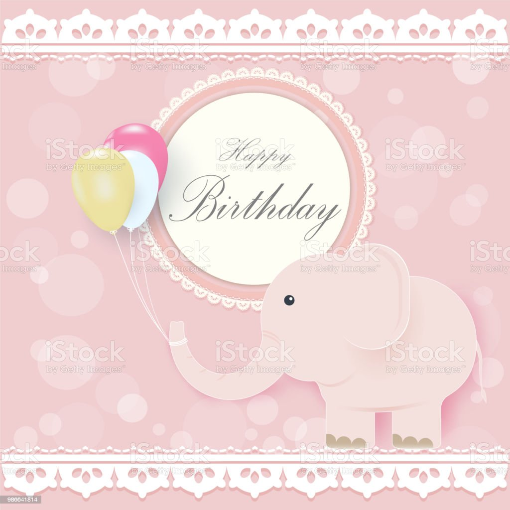 Elephant And Balloons With Round Retro Frame Greeting Card Happy