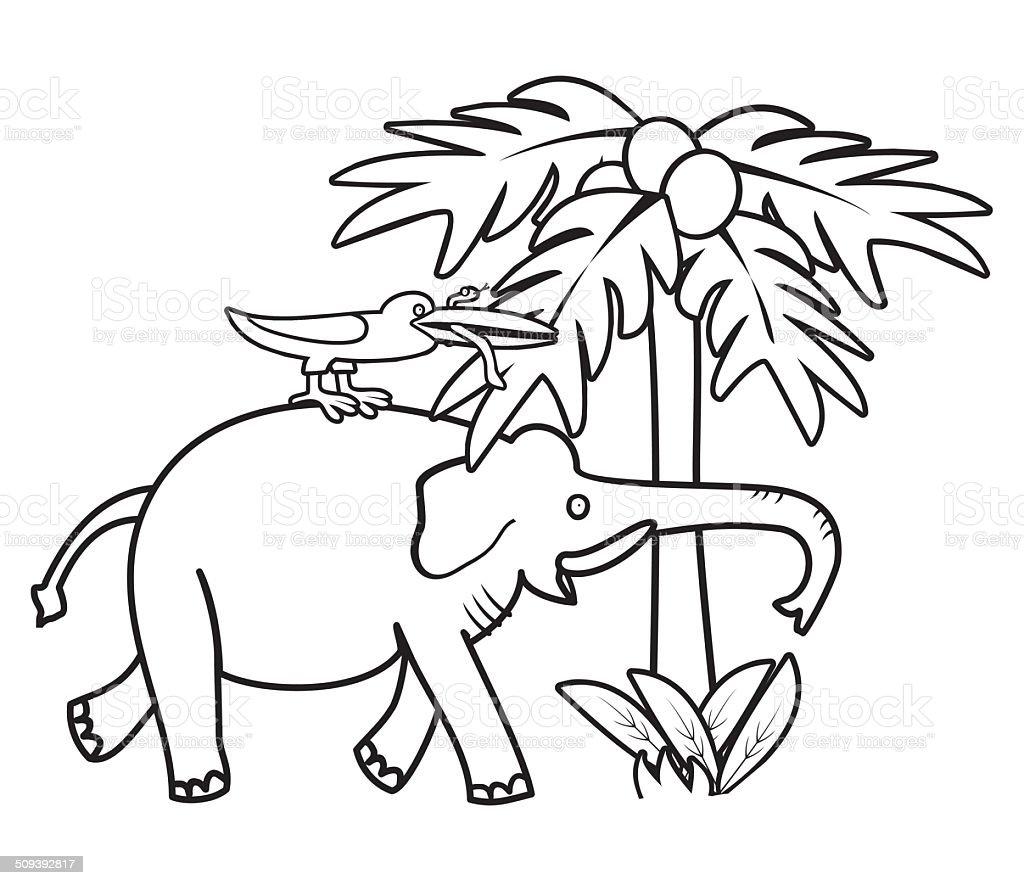 Elefante Y Bird Libro Para Colorear - Arte vectorial de stock y más ...