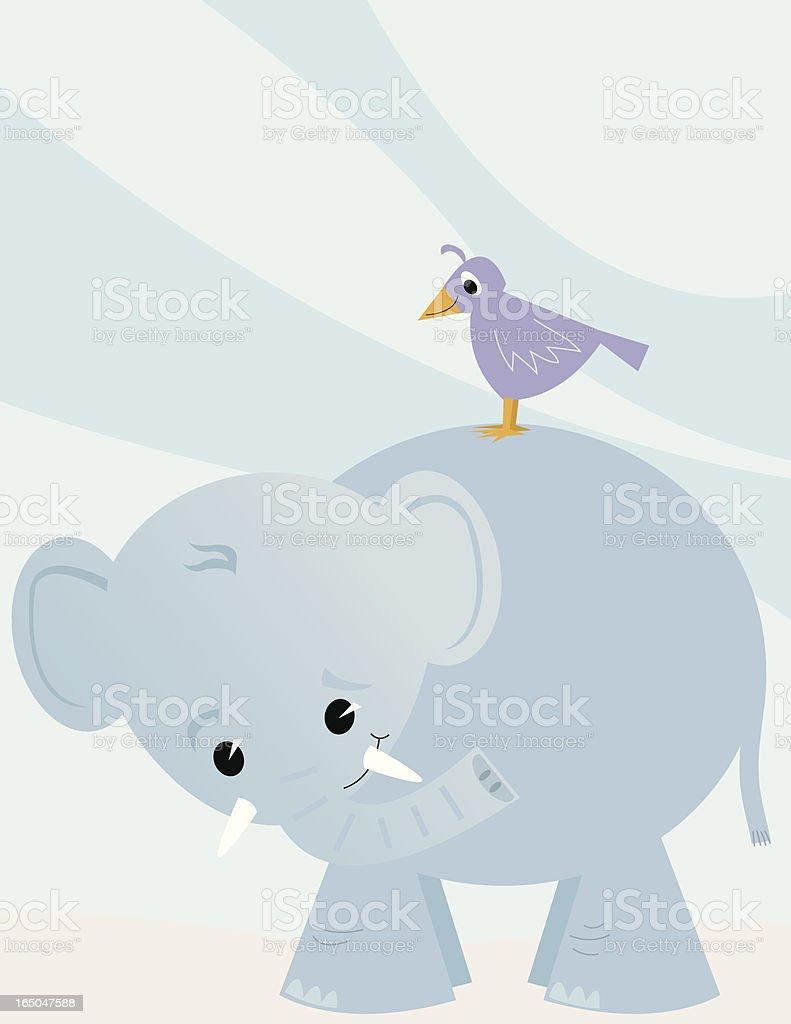 Elephant and Bird royalty-free stock vector art