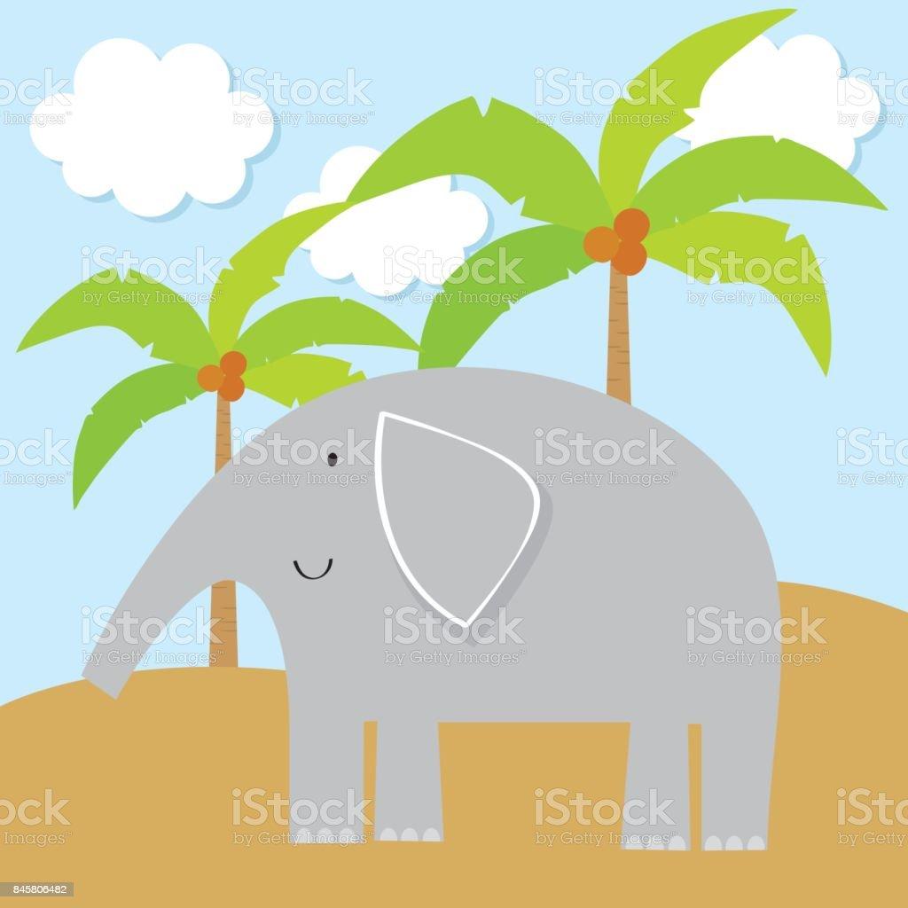Elefant Und Kokosnuss Baum Niedlichen Design Für Kinder Stock Vektor ...