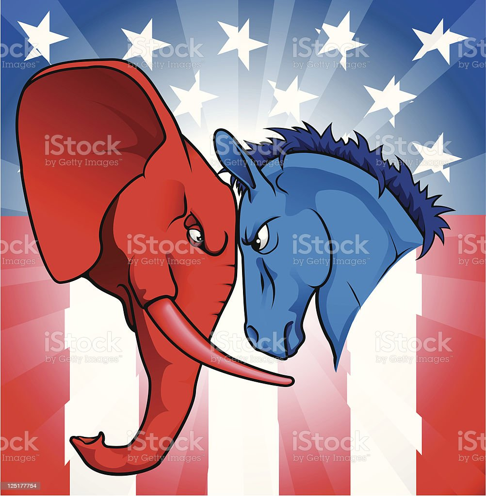 Elephant and donkey facing each other for American politics royalty-free stock vector art