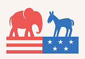 istock Elephant and Donkey Symbols of Republican and Democratic Party. USA Elections Campaign. Flat Vector Illustration 1281326212