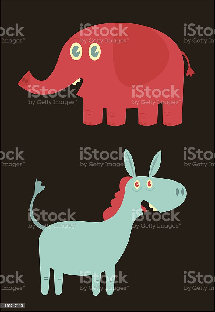 Elephant and Donkey vector art illustration