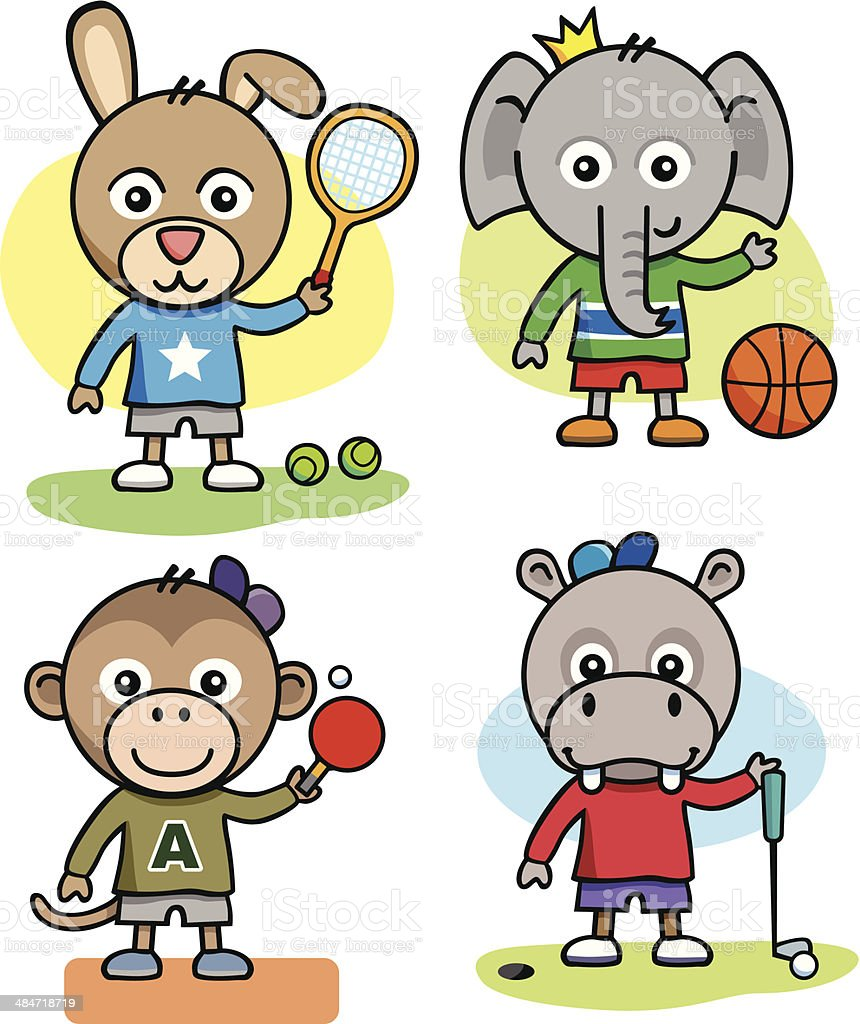 Elephant and Friends Playing Sport vector art illustration