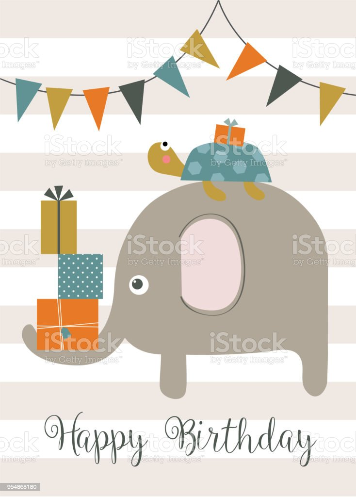 Elephant And Little Turtle Birthday Greeting Card