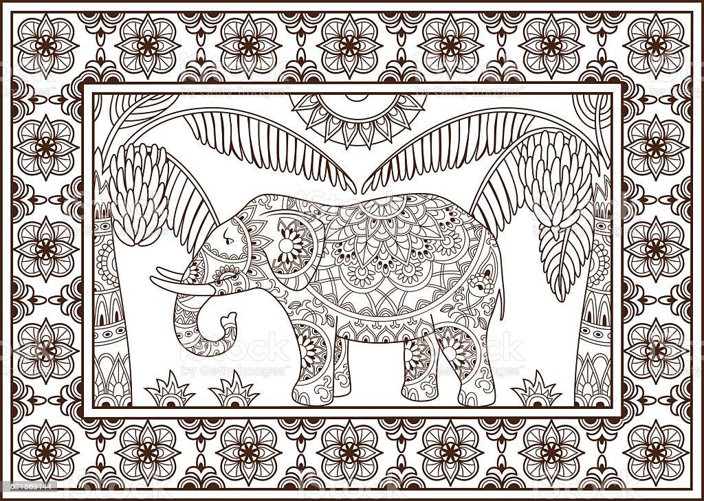 Elephant and palm tree pattern elephant and palm tree pattern – cliparts vectoriels et plus d'images de adulte libre de droits