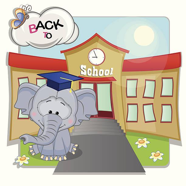 słoń i szkole - back to school stock illustrations