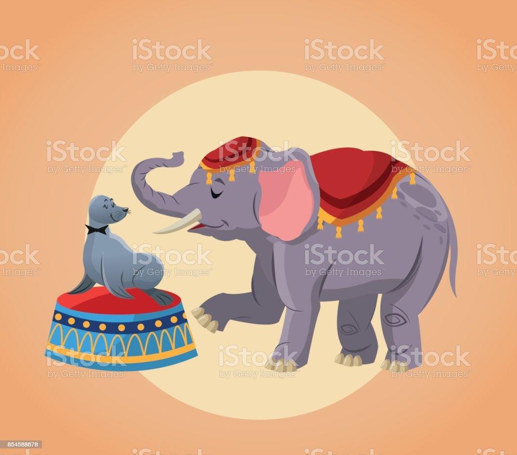 Ilustración de Dibujos Animados De Elefante Y El Sello Del Circo y ...