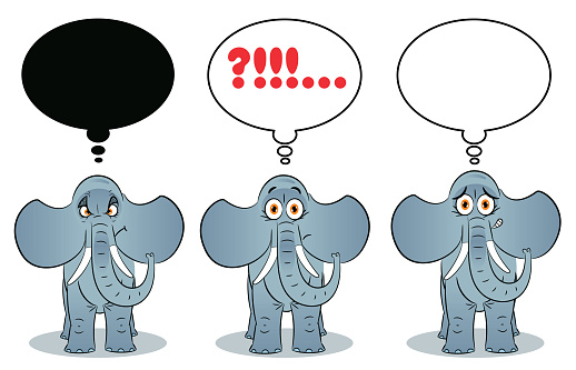 Elephant and thought bubble