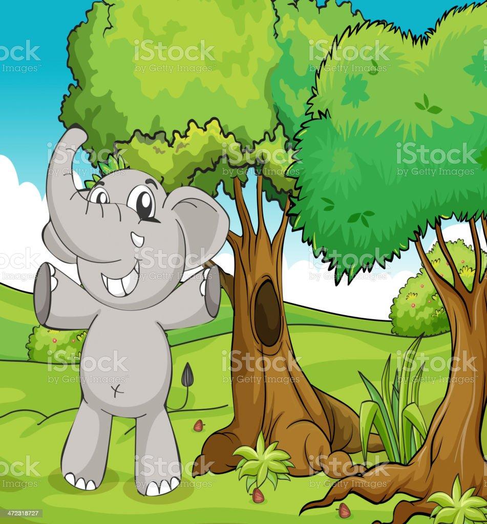 Elephant and trees royalty-free stock vector art