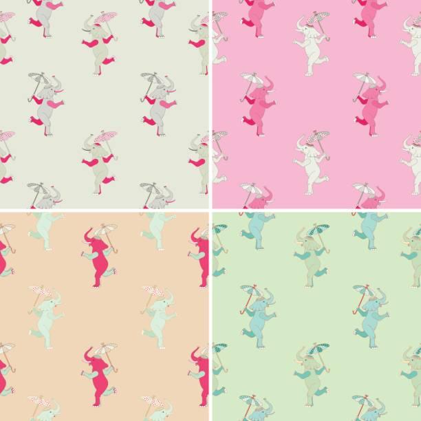 elefant und sonnenschirm - pastellhosen stock-grafiken, -clipart, -cartoons und -symbole