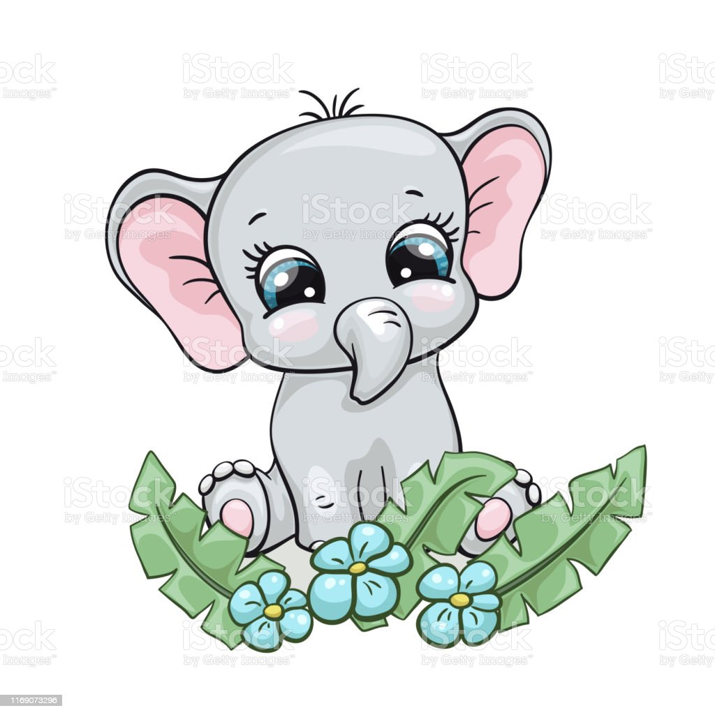 Elephant Baby Cute Print Sweet Tiny Zoo With Tropical Palm Leafs Cool African Animal Illustration Stock Illustration Download Image Now Istock