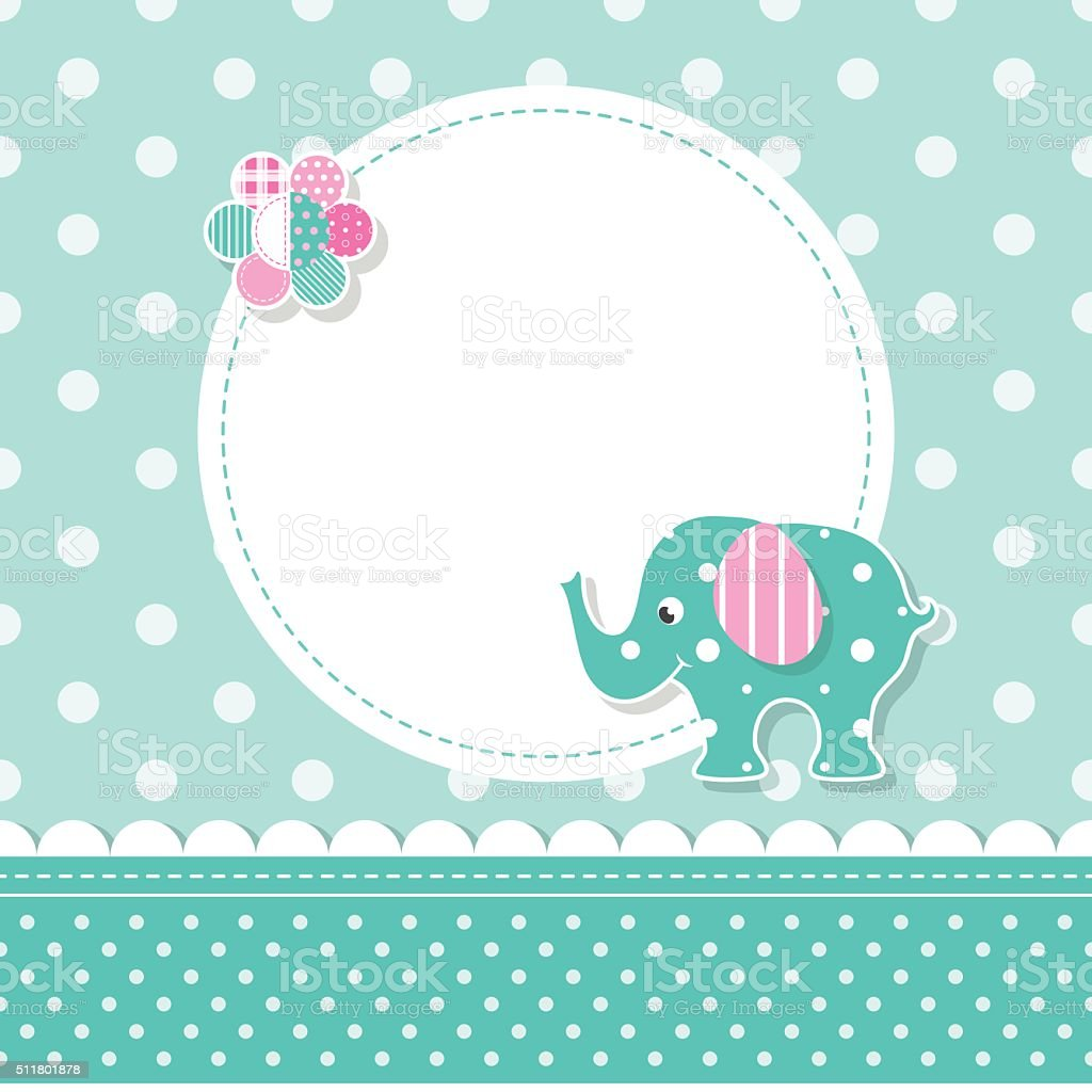 elephant baby greeting card vector art illustration