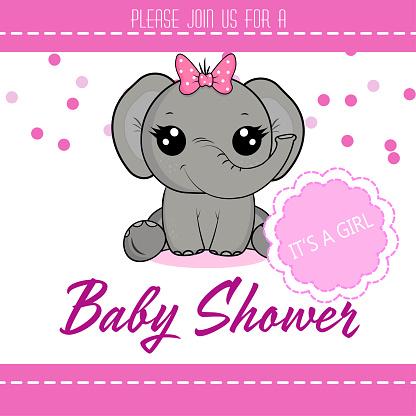 Elephant baby shower girl.