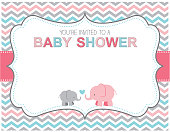 A vector illustration of a baby shower invitation featuring cute elephants. Objects are grouped and layered for easy editing. Files included: EPS10 and Large High Res JPG.
