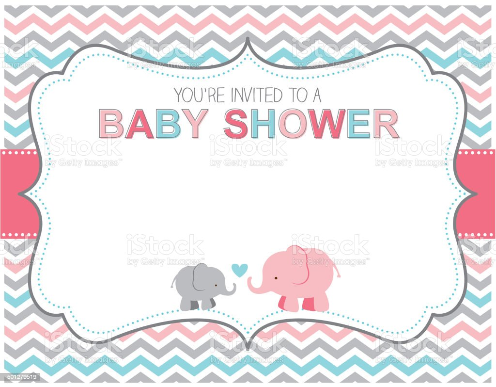 Elephant Baby Shower Invitation vector art illustration