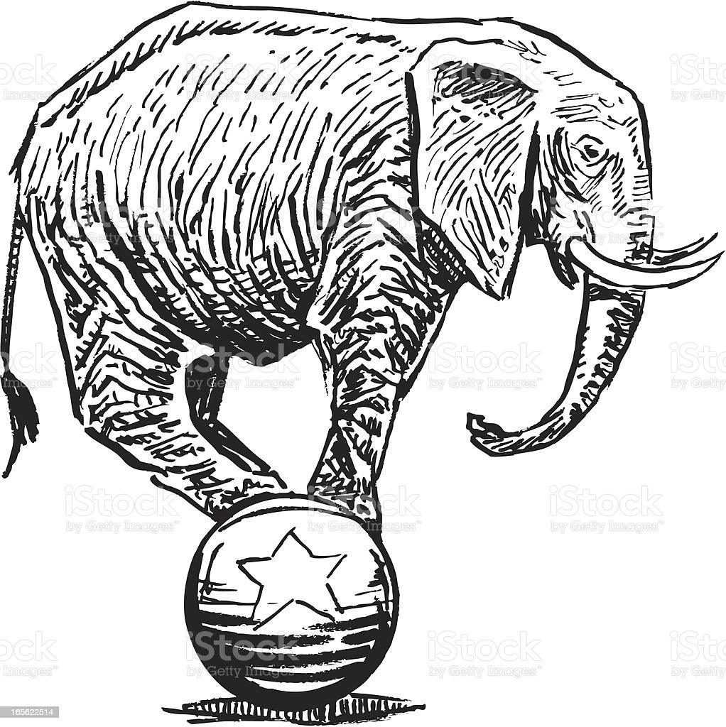 Elephant Balancing on Ball - Circus or Politics vector art illustration