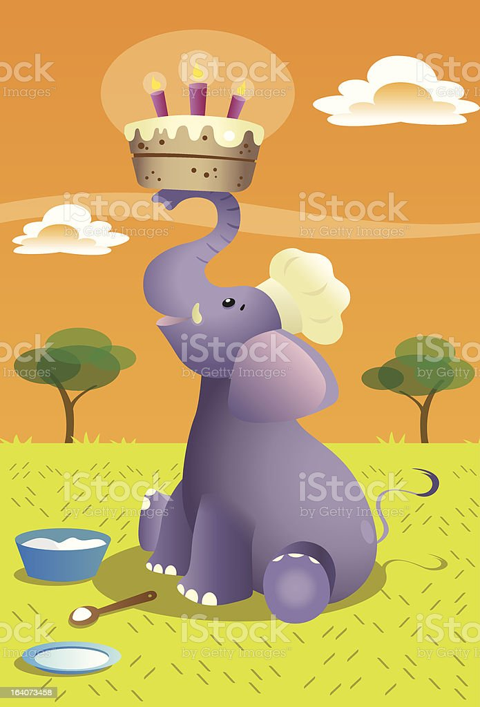 Elephant Birthday Cake royalty-free elephant birthday cake stock vector art & more images of above