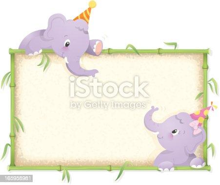istock Elephant birthday frame 165958981