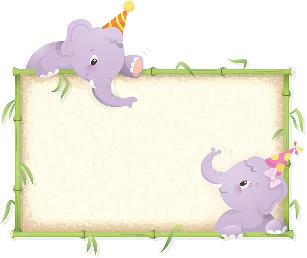 Elephant birthday frame vector art illustration