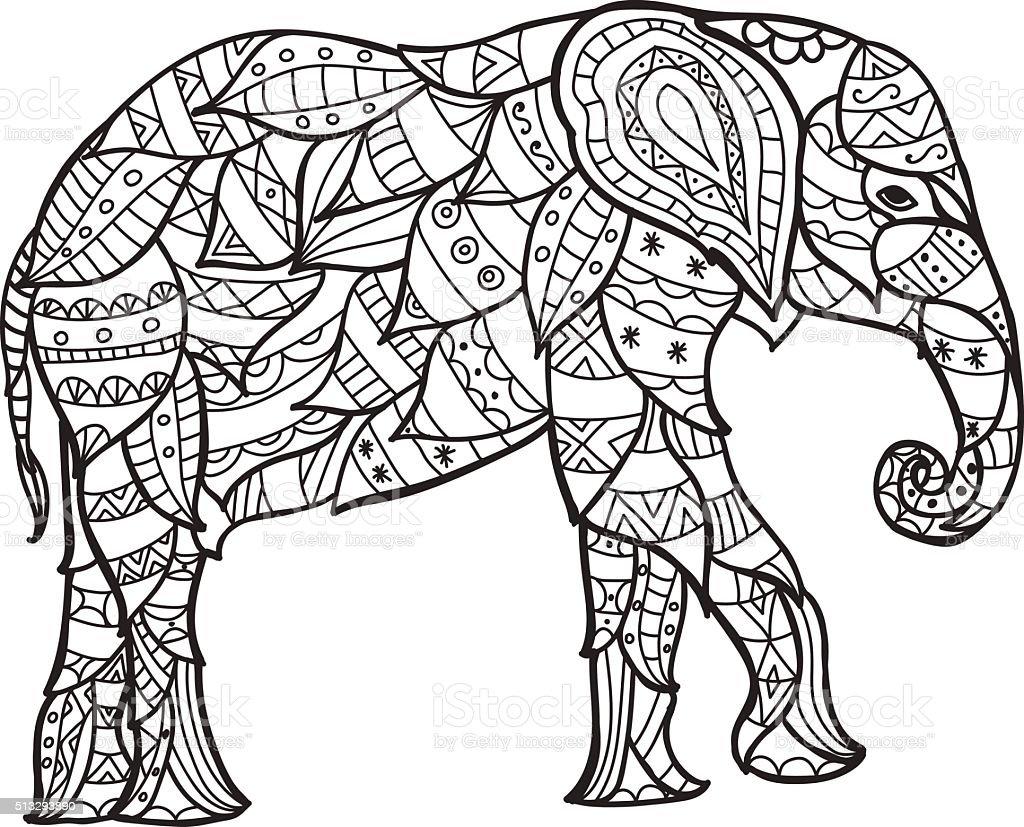 elefant schwarz und wei gekritzel muster mit ethnomuster stock vektor art und mehr bilder von. Black Bedroom Furniture Sets. Home Design Ideas