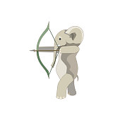 There is an elephant shooting an arrow from a bow that was made as a vector illustration for making prints, logos, symbols and elements of design for Children's Goods, Activity or Sport topics.