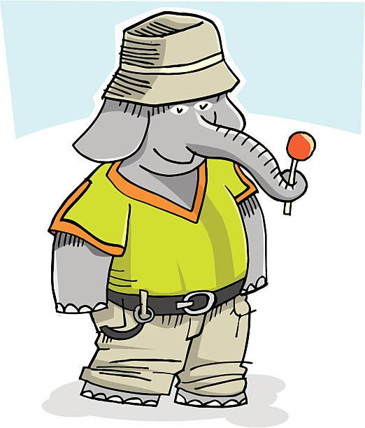 Elephant boy-1 vector art illustration