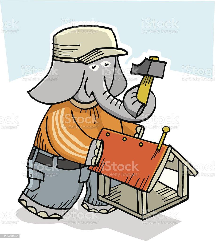 Elephant boy-2 vector art illustration