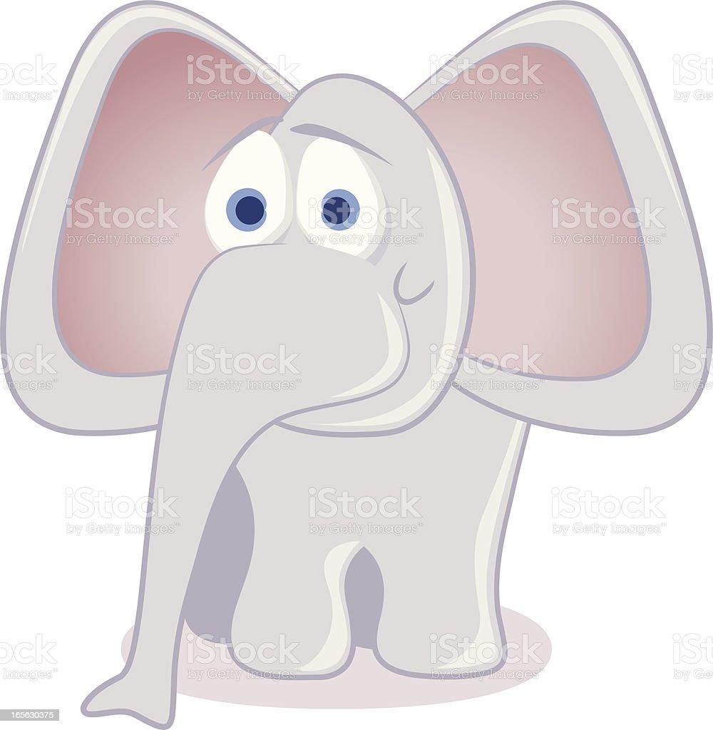 Elephant cartoon in pastel shades vector art illustration