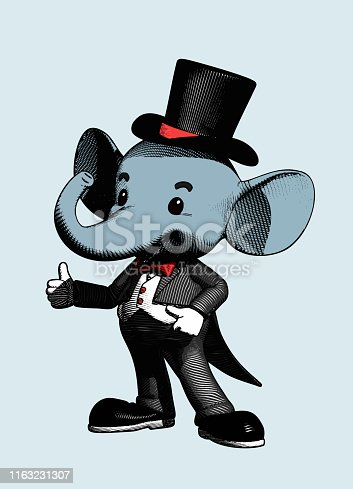Elephant character in tuxedo suit engraving drawing retro style isolated on white background