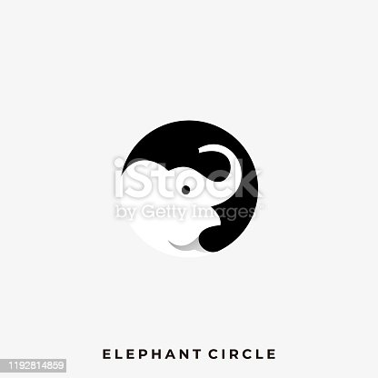 istock Elephant Circle Illustration Vector Template 1192814859