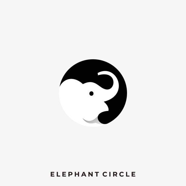 Elephant Circle Illustration Vector Template Elephant Circle Illustration Vector Template. Suitable for Creative Industry, Multimedia, entertainment, Educations, Shop, and any related business. mammal stock illustrations