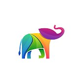 Elephant Colorful Designs Concept Illustration Vector Template. Suitable for Creative Industry, Multimedia, entertainment, Educations, Shop, and any related business Colorful Designs Concept Illust