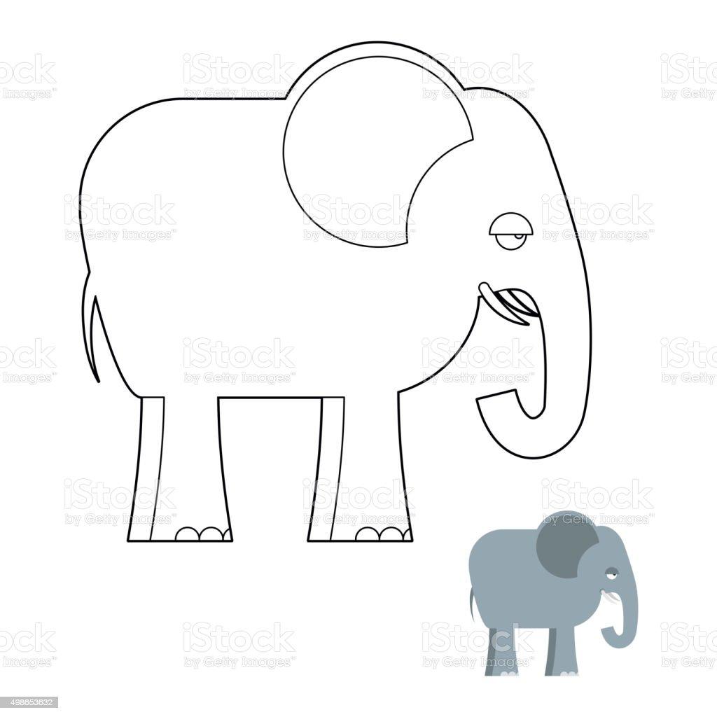 Elefante Libro Para Colorear Big Animales De La Selva Con Largo Del ...