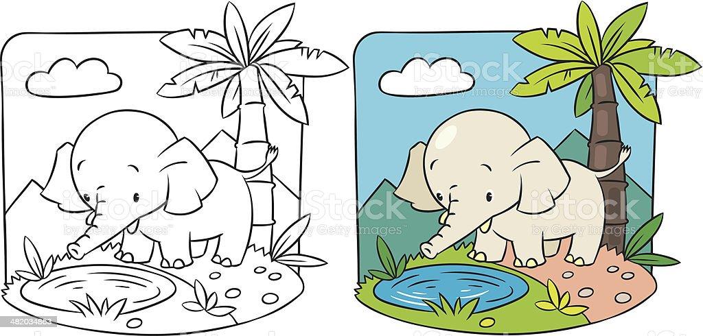 Ilustración de Elefante Libro Para Colorear y más banco de imágenes ...
