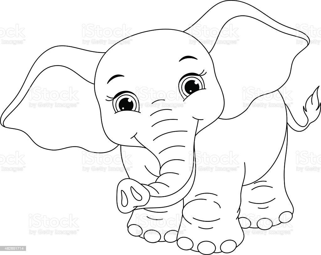 Ilustración de Elefante Para Colorear Página y más Vectores Libres