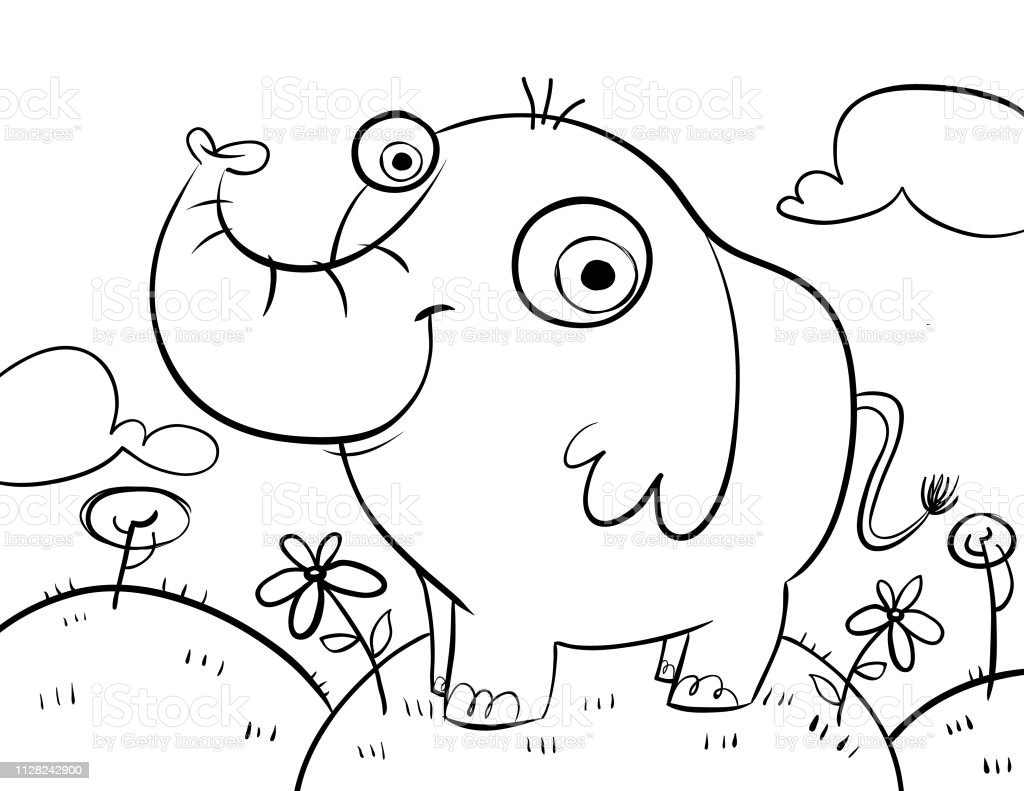 - Elephant Colouring Page Stock Illustration - Download Image Now