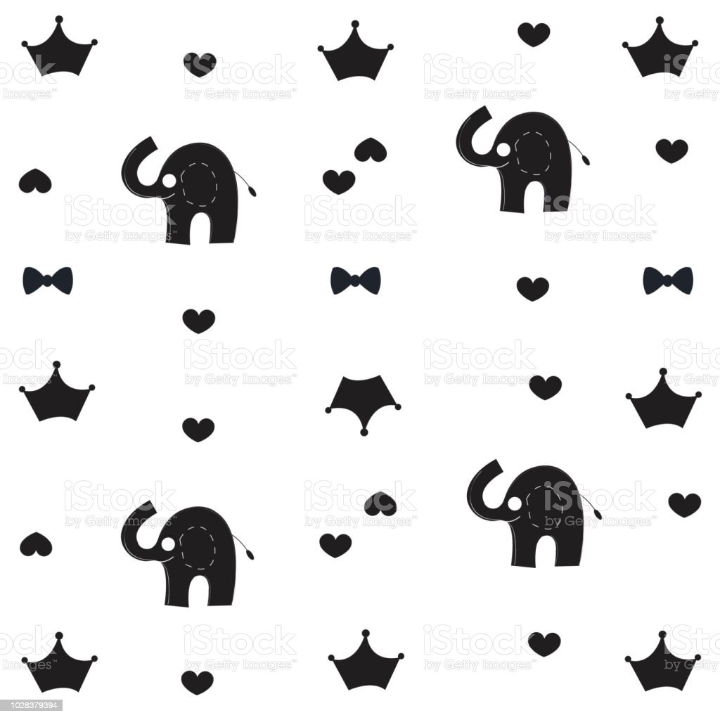 Elephant Crown And Bow Tie Baby Black White Pattern Wallpaper Royalty Free