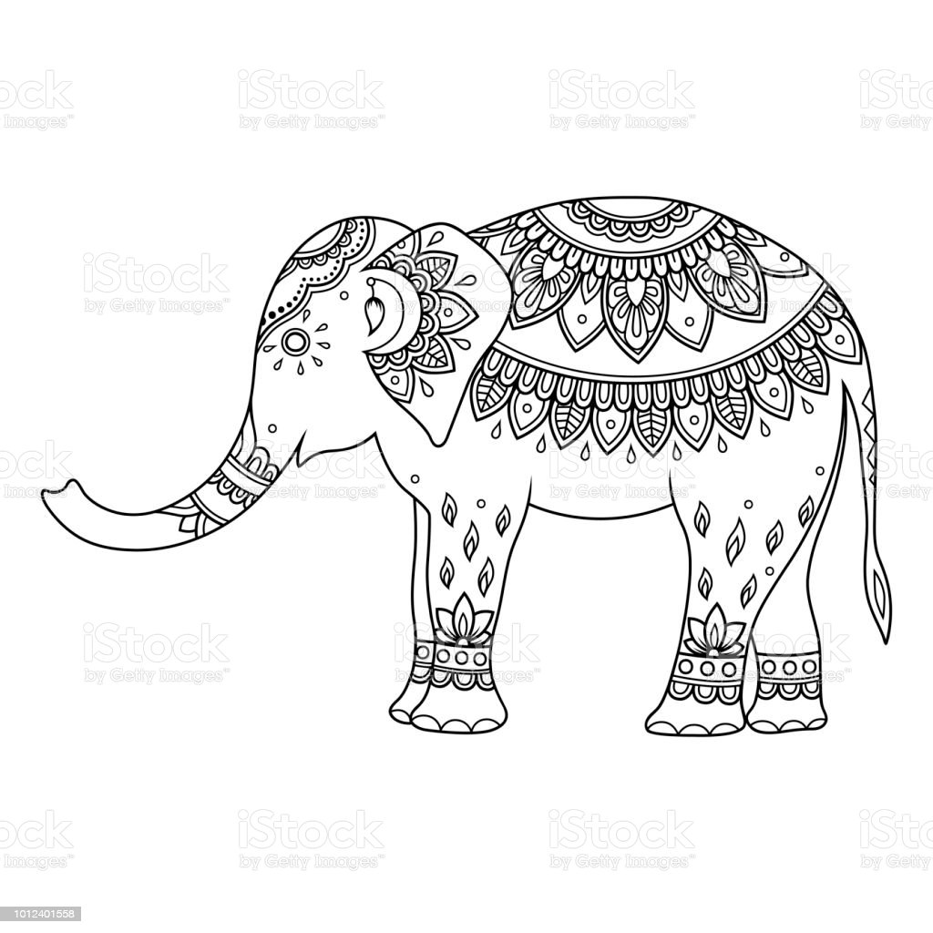 Elephant Decorated With Indian Ethnic Floral Vintage Pattern Hand ...