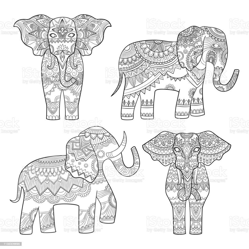 Elefanten-dekoratives Muster. Indisches Motiv Stammeskönigsdesign für Erwachsene farbige Seiten Vektorabbildungen – Vektorgrafik